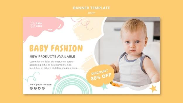 Modelo de banner de moda bebê