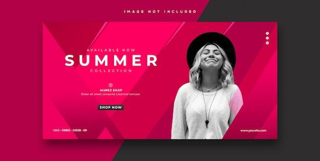 Modelo de banner de moda de venda verão