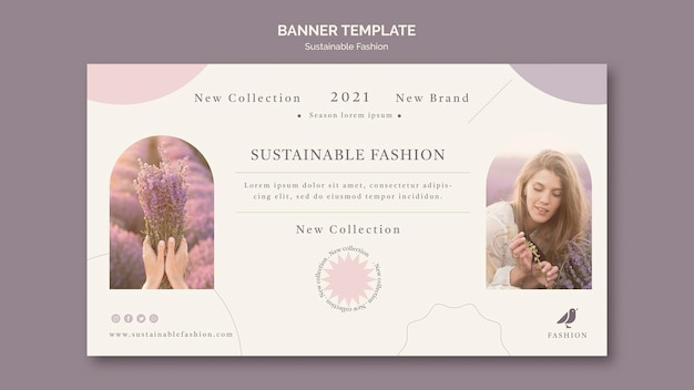 Modelo de banner de moda sustentável