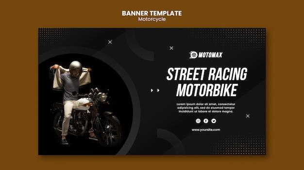 Modelo de banner de moto de corrida de rua