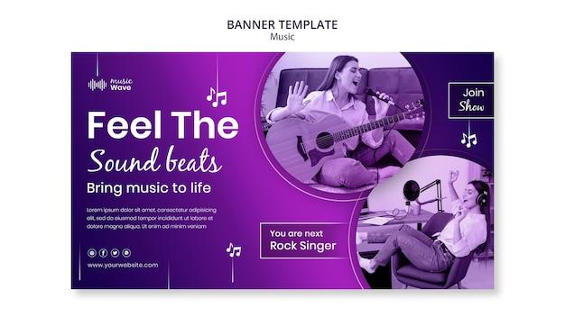 Modelo de banner de mulher cantando