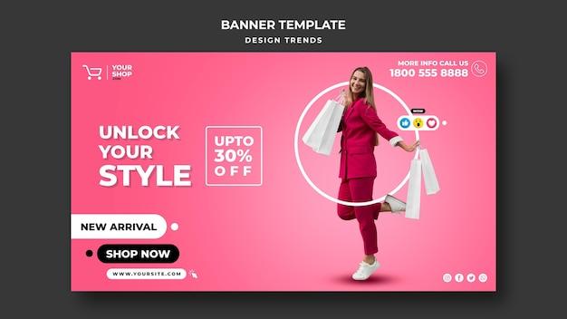 Modelo de banner de mulher de compras