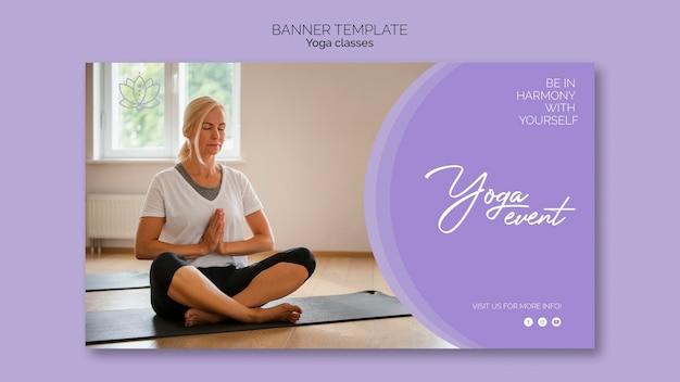 Modelo de banner de mulher de ioga