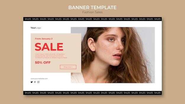 Modelo de banner de mulher em promoção de moda