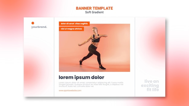 Modelo de banner de mulher fazendo exercícios de alongamento