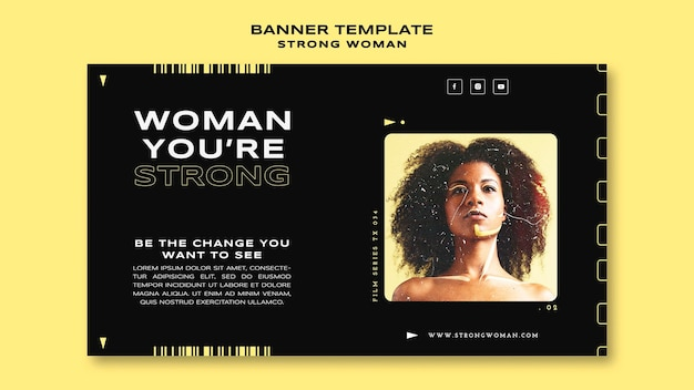Modelo de banner de mulher forte