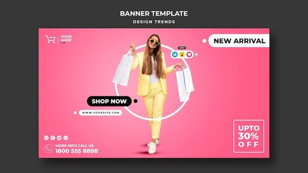 Modelo de banner de mulher para compras