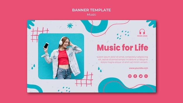 Modelo de banner de música com foto