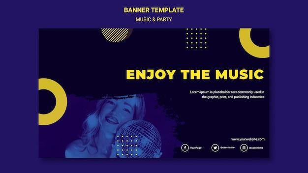Modelo de banner de música e festa