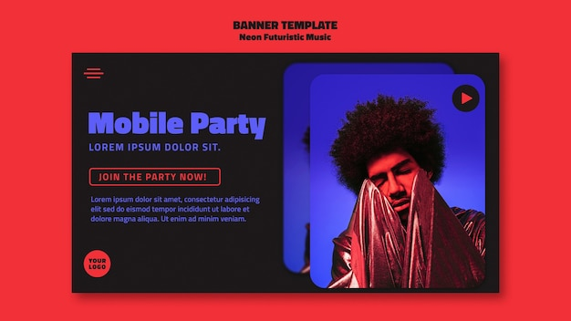 Modelo de banner de música futurista de néon