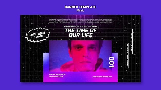 Modelo de banner de música futurista