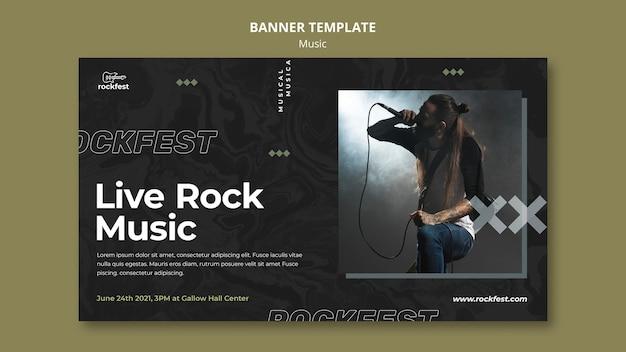 Modelo de banner de música rock ao vivo