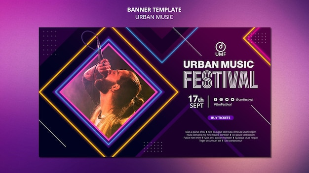Modelo de banner de música urbana