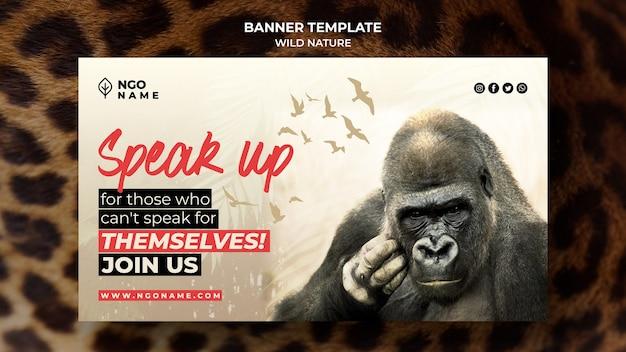 Modelo de banner de natureza selvagem com foto de gorila