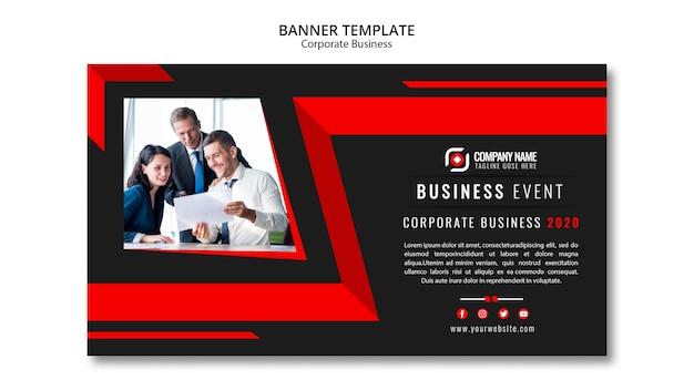 Modelo de banner de negócios abstratos