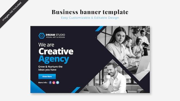 Modelo de banner de negócios com detalhes azuis