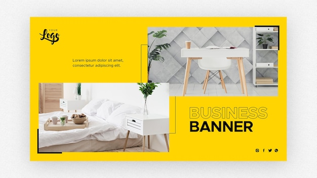 Modelo de banner de negócios com mesa e cama