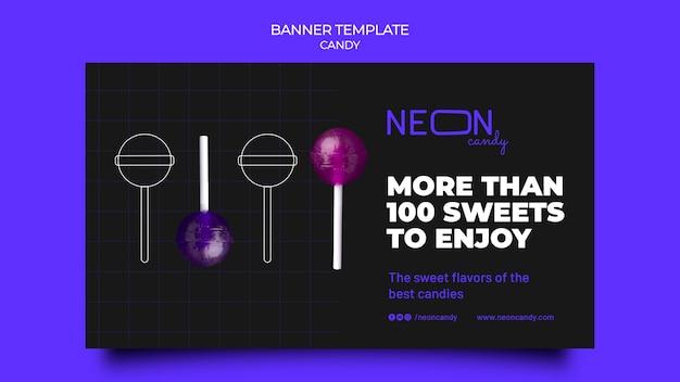 Modelo de banner de néon para loja de doces