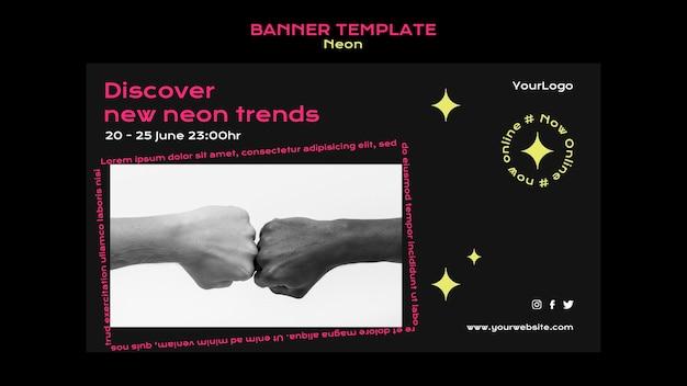 Modelo de banner de néon para novas tendências online