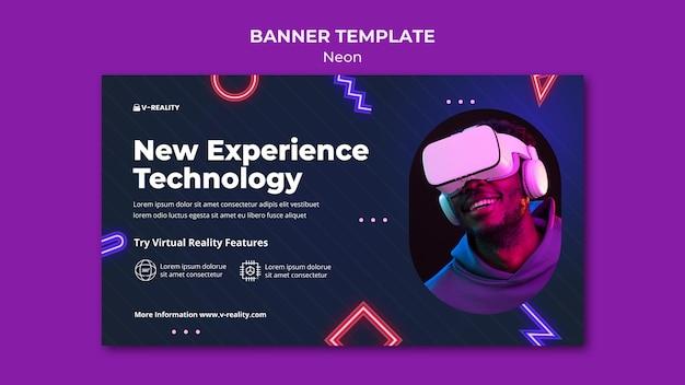 Modelo de banner de óculos de realidade virtual em néon
