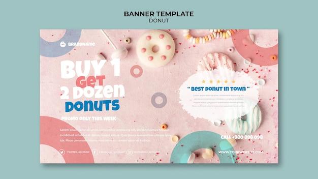 Modelo de banner de oferta de donut delicioso