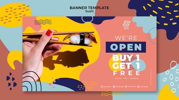 Modelo de banner de oferta de restaurante de sushi