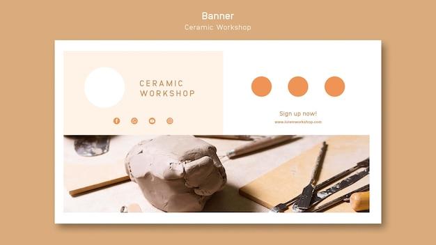 Modelo de banner de oficina de cerâmica