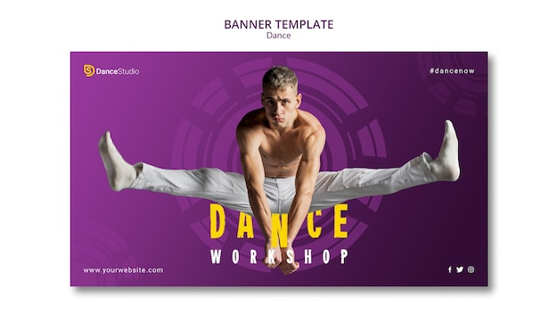 Modelo de banner de oficina de dança profissional