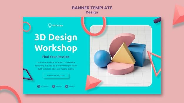 Modelo de banner de oficina de design 3d