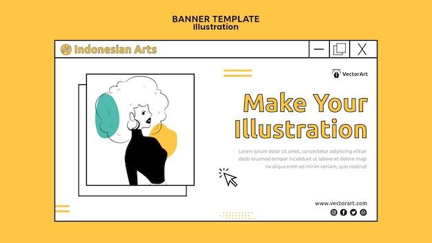 Modelo de banner de oficina de ilustração