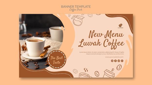Modelo de banner de pacote de café de canecas de café