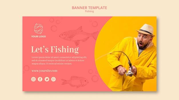 Modelo de banner de paixão de pesca