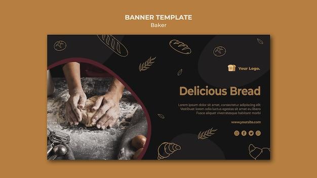 Modelo de banner de pão delicioso