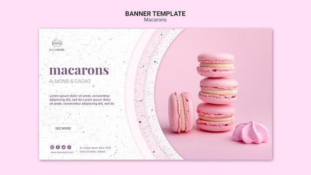 Modelo de banner de pilha rosa de macarons