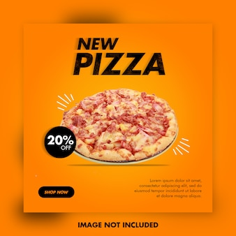 Modelo de banner de pizza de comida de restaurante