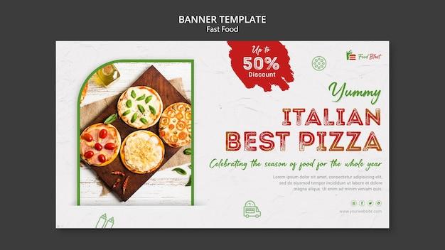 Modelo de banner de pizza italiana