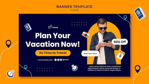 Modelo de banner de plano de férias