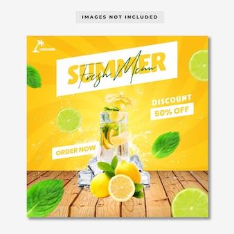 Modelo de banner de post de instagram de mídia social de menu de verão fresco