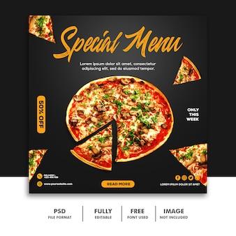 Modelo de banner de post de mídia social de comida de pizza