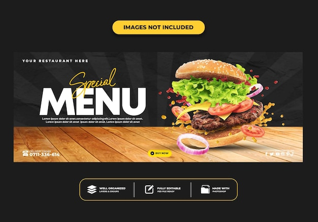 Modelo de banner de postagem da capa do facebook para hambúrguer de menu de fast food de restaurante
