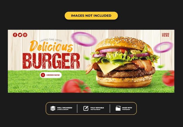 Modelo de banner de postagem da capa do facebook para hambúrguer de menu de fast food