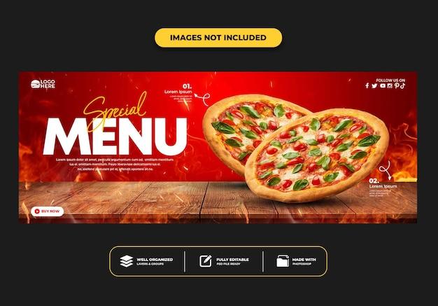 Modelo de banner de postagem da capa do facebook para pizza de menu de fast food de restaurante