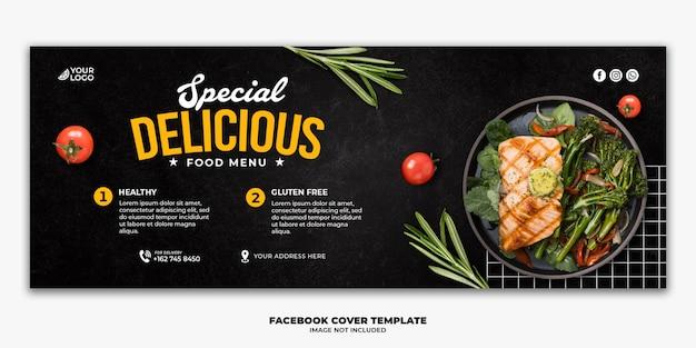 Modelo de banner de postagem de capa do facebook para cardápio de comida de restaurante