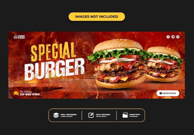 Modelo de banner de postagem de capa do facebook para hambúrguer de menu de fast food de restaurante