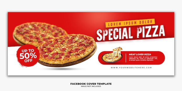Modelo de banner de postagem de capa do facebook para pizza de cardápio de fast food de restaurante