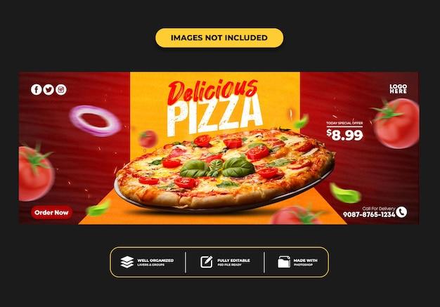 Modelo de banner de postagem de capa do facebook para pizza de menu de fast food de restaurante