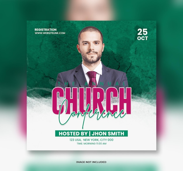 Modelo de banner de postagem de conferência ao vivo da igreja ou modelo de folheto e banner de mídia social