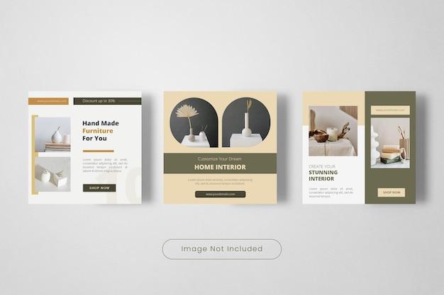 Modelo de banner de postagem de instagram de design de interiores feito à mão