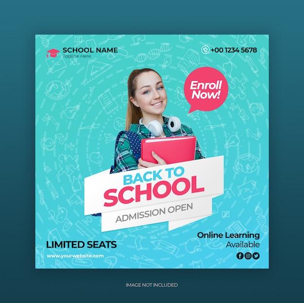 Modelo de banner de postagem de instagram de mídia social de educação escolar