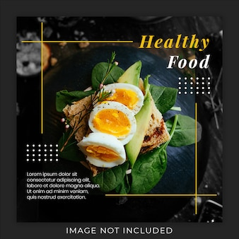 Modelo de banner de postagem de instagram de mídia social de promoção de menu de comida saudável
